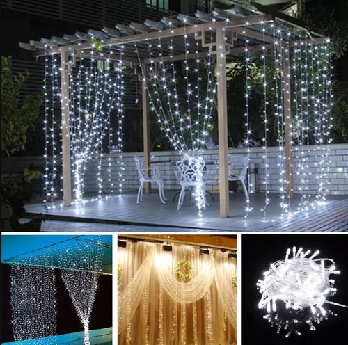 cortina led blanco frio / calido 3x3 bodas interiores fiesta