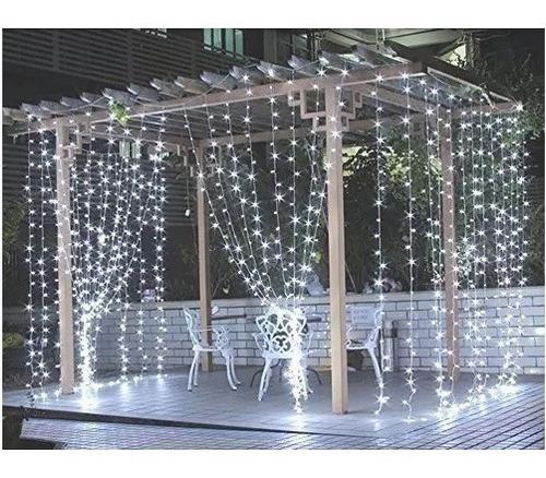 cortina led blanco frio nieve 3x3 decoracion fiesta boda