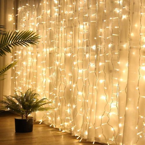 cortina led luces 3x3m bodas decoración fiestas blanco cál