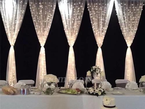 cortina led vintage 6x3 decoracion blanco calido fiestas bodas bautizos xv años jardin patios hogar