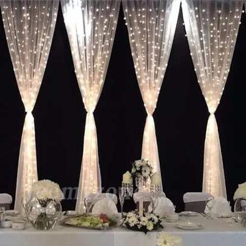 cortina led vintage blanco calido o blanco frio 3x3 bodas navidad para toda decoraciones en bodas jardin cumpleaños