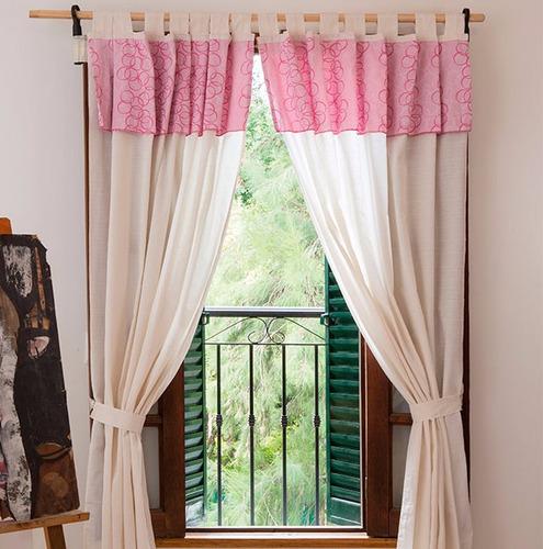 cortina living o habitacin con volado jacquard