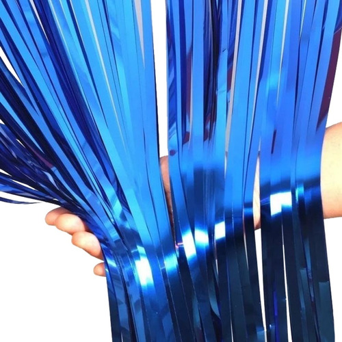 cortina lluvia metalizada azul x 2 m x 1 - ciudad cotillón