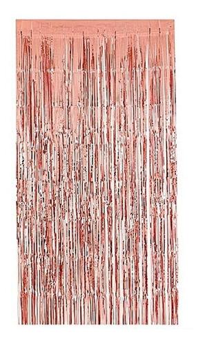 cortina lluvia metalizada fondo gold rose- 1 x 2 mtrs