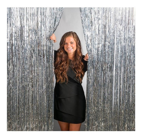 cortina lluvia metalizada fondo plata - 1x 2 mtrs