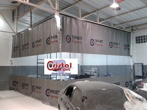 cortina lona pvc cabine de pintura lava jato por m²