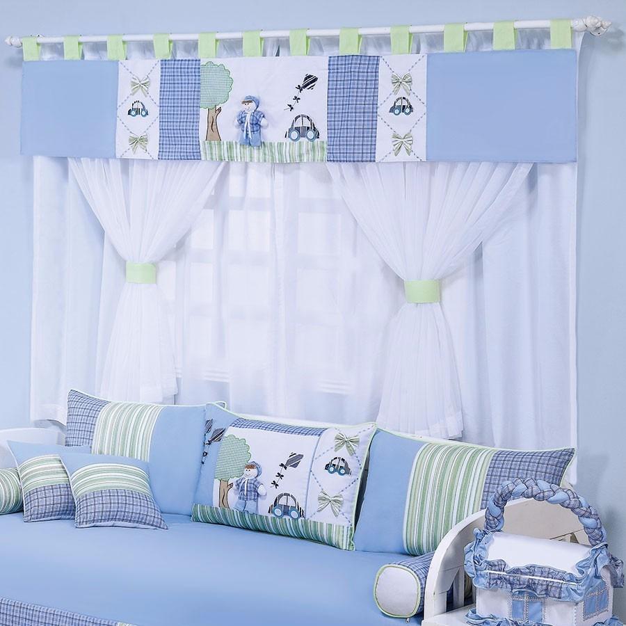 Cortina Luca Para Quarto De Beb Menino Branco Azul R 218 30  ~ Tipos De Cortinas Para Quarto E Quarto De Bebê Decoração