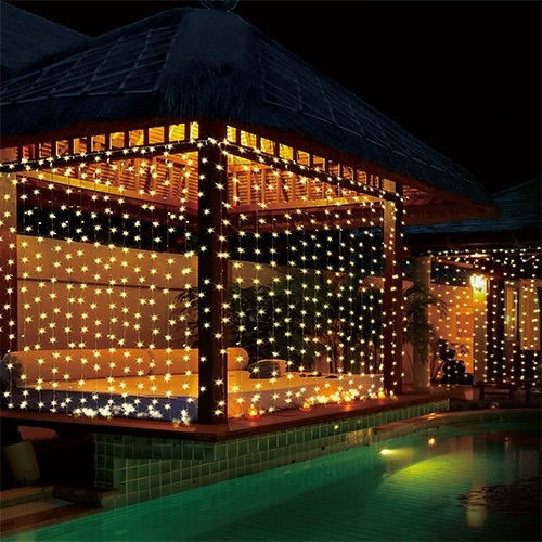 Cortina luces led 3x3 fiesta navidad eventos jardin patio for Luces patio exterior