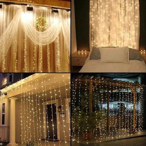 cortina luces led 3x3 metro 10 tiras calida frio mega grande