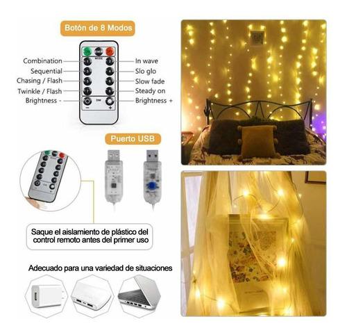 cortina luces led 3x3m impermeable bodas navidad fiesta usb