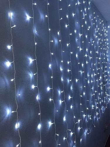 cortina luz 900 leds branca fria 4mx3m decoração festas 110