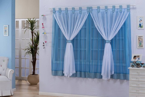 cortina manoella infantil para menino azul/branco 2,00x1,70