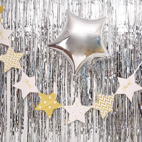 cortina metalizada flecos fiesta lluvia tiras dorada dorado