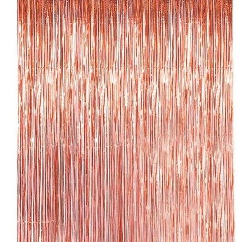 cortina metalizada flecos lluvia tiras rosa dorada 1 x 2 m