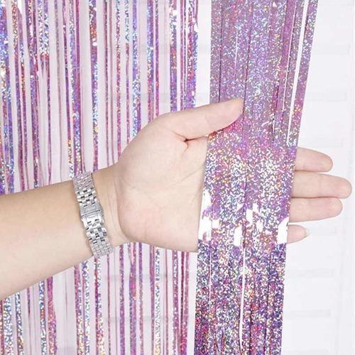 cortina metalizada hologramada para decoracion eventos 1x2m