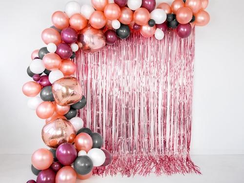 cortina metalizada rosa oro 2x1 metro - cotillón -decoración