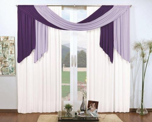 cortina natália roxo lilás branco 3m x 2,8m varão duplo