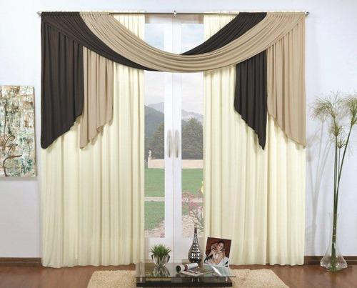 cortina natália tabaco avelã palha 3,0m x 2,80m varão duplo