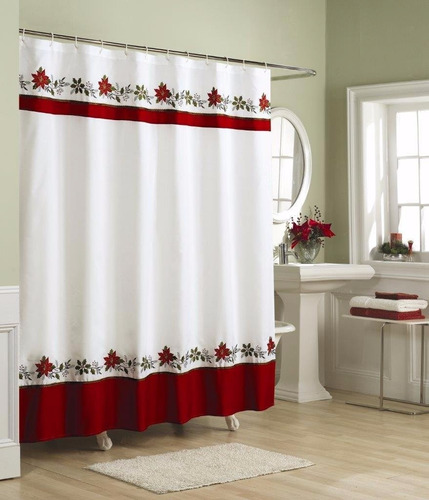 cortina navideña p/ baño lorraine home fashions 70x72 pulg.