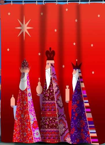 cortina navideña p/baño reyes magos. 70x72 pulg.