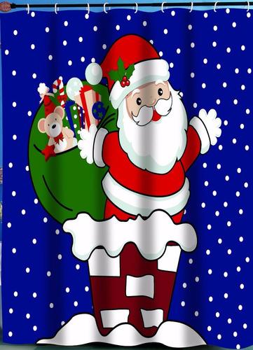 cortina navideña p/baño sta claus carnation home 70x72 pulg.