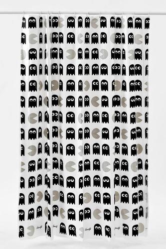 cortina negra retro video games baño morph