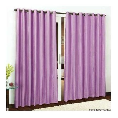 cortina p/ quarto ou sala 3,00x2,50 lilás rústica com ilhós