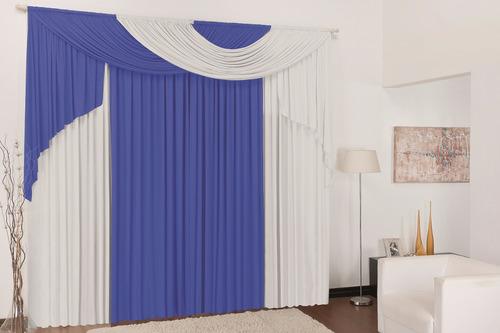 cortina p\ sala elegance azul branco 3mx2,8m p/ varão duplo