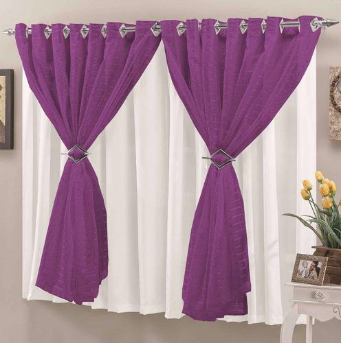 cortina p/ sala verônica roxo voal 2mx1,7m varão simples