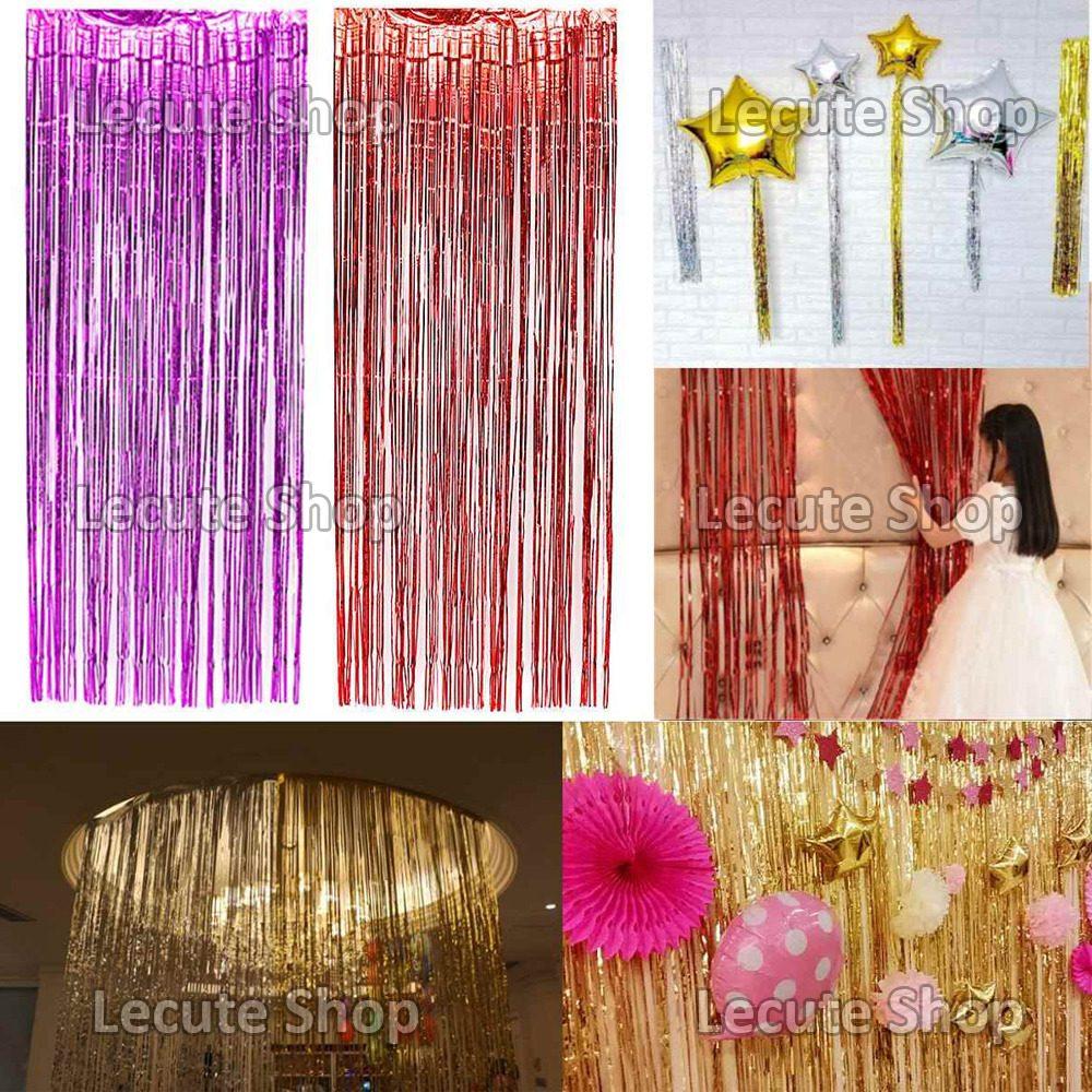 Cortina papel metalico decoracion fiesta adorno lluvia for Papel de pared plata