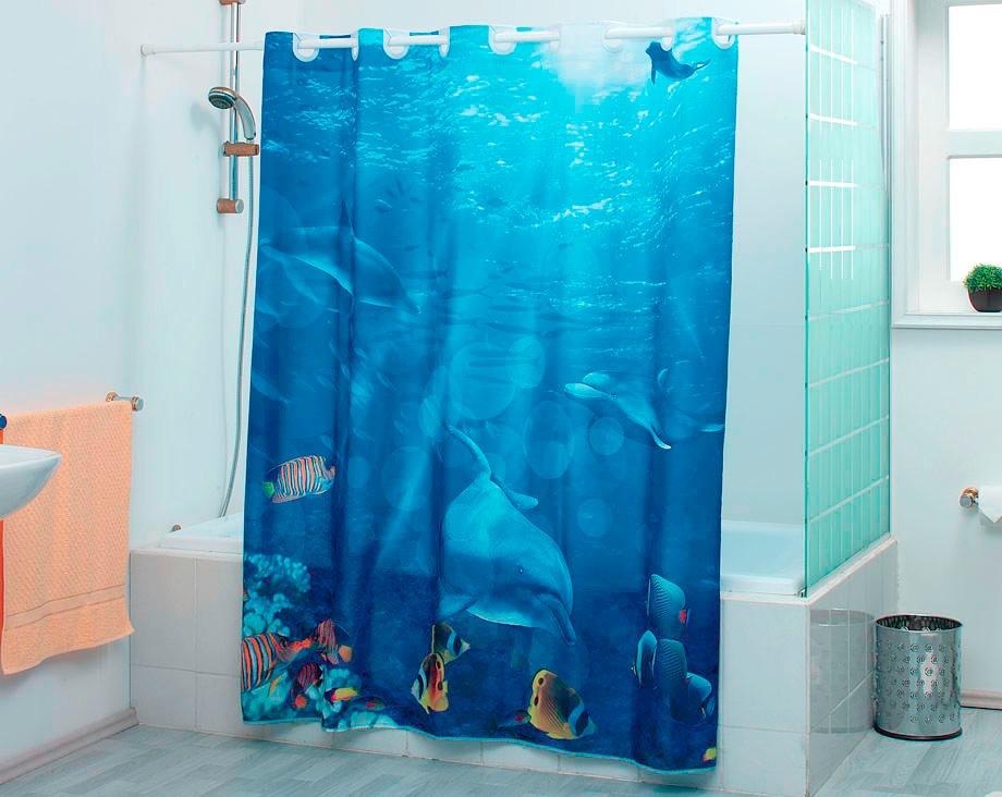 Cortina para ba o con ojillos delfines coral concord for Accesorios para cortinas de bano