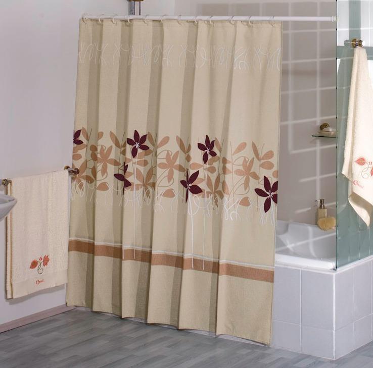 Cortina para ba o miami beige concord en for Como poner ganchos de cortinas