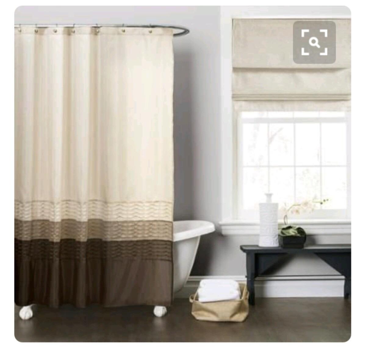 Cortina para ba o tela repelente 2x2 en mercado for Ganchos para cortinas de bano