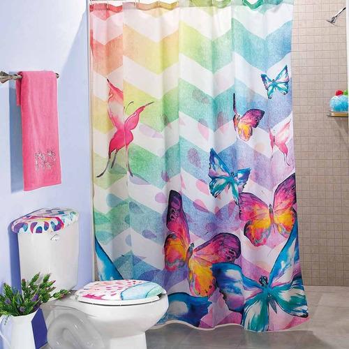cortina para baño arcoiris rosa 1.80 m x 1.80 m envio gratis