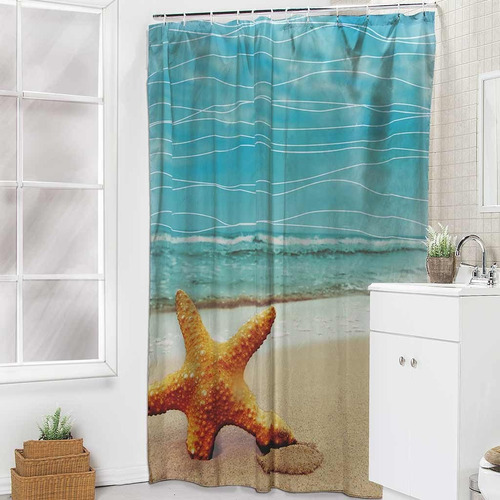cortina para baño bahia turquesa 1.80 m x 1.80 m envio g