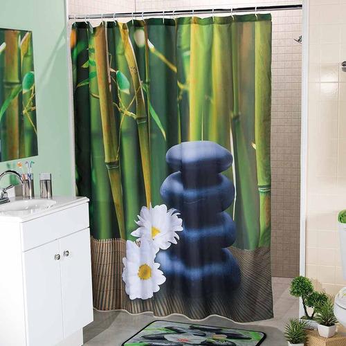 cortina para baño bambu verde 1.80 m x 1.80 m envio gratis
