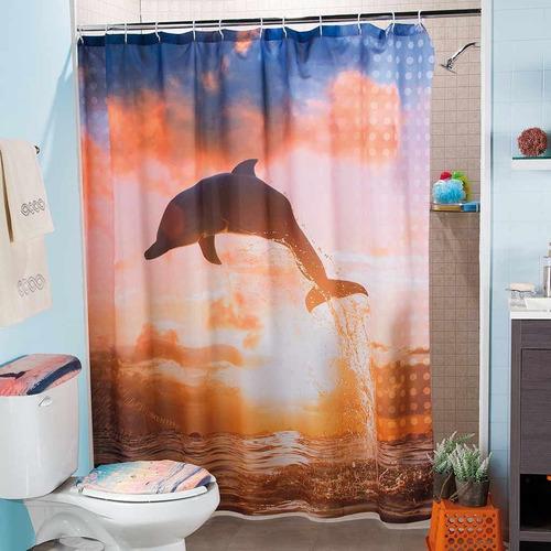 cortina para baño delfines coral 1.80 m x 1.80 m envio g