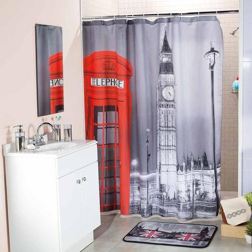 cortina para baño gran bretaña gris 1.80 m x 1.80 m envio g