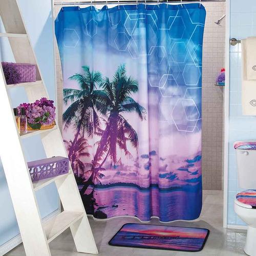 cortina para baño palmeras violeta 1.80 m x 1.80 m envio g