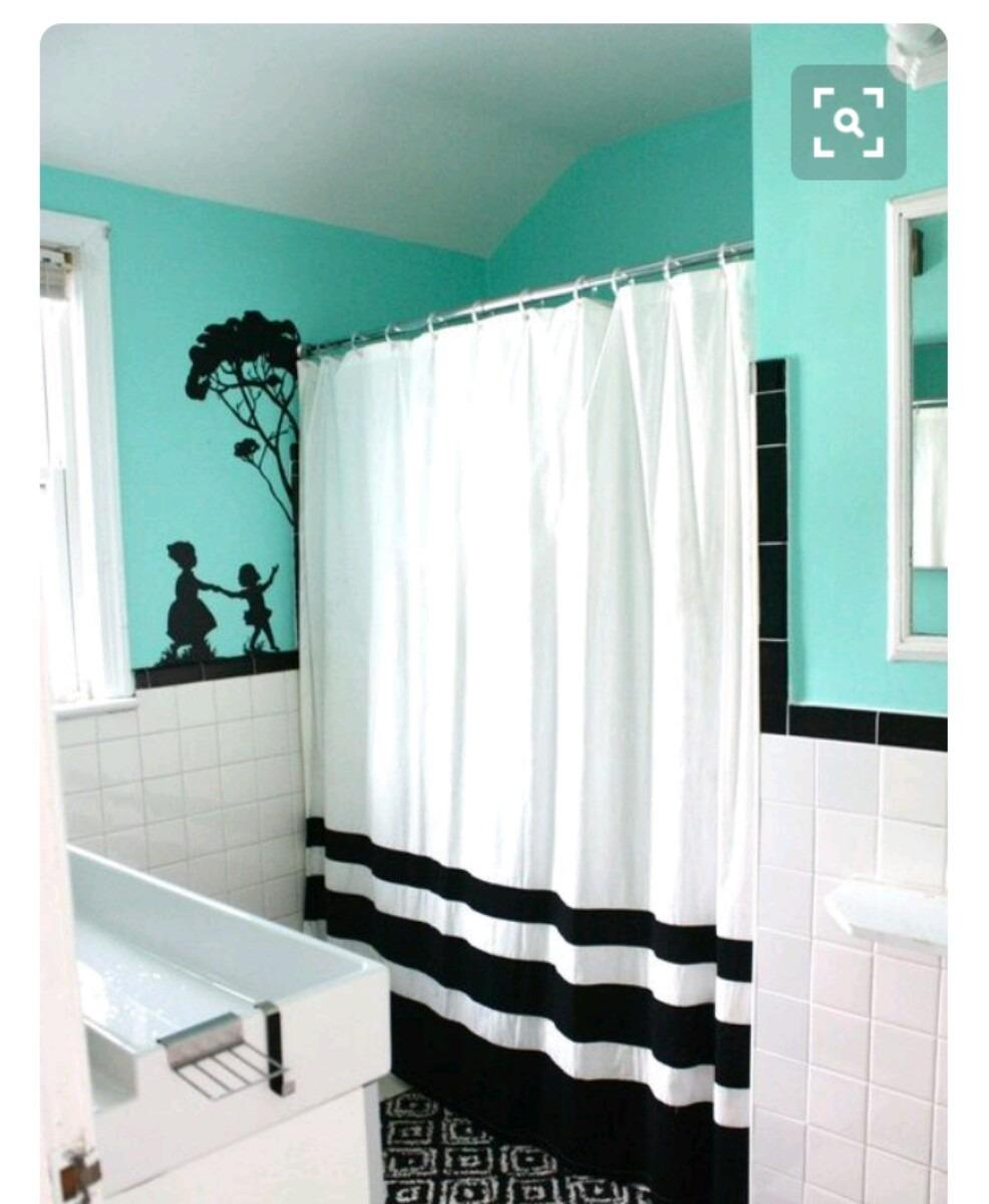 Cortina para ba o tela repelente 2x2 en mercado for Ganchos de resina para cortinas de bano