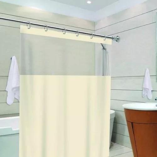 cortina para box 100% pvc 1,38 x 1,98 c/ visor + brinde