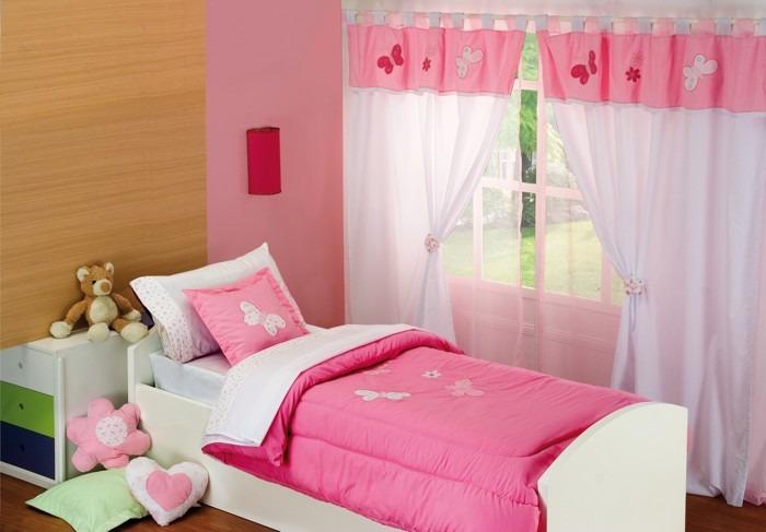 Cortina Para Dormitorio Infantil Con Faldon Pique Y Bordados ...