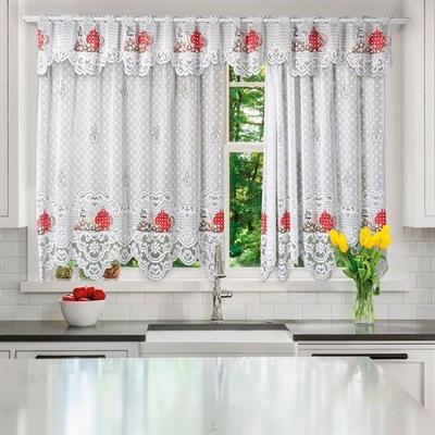 cortina para cozinha 220x150 cm renda e bandô 30 cm chá