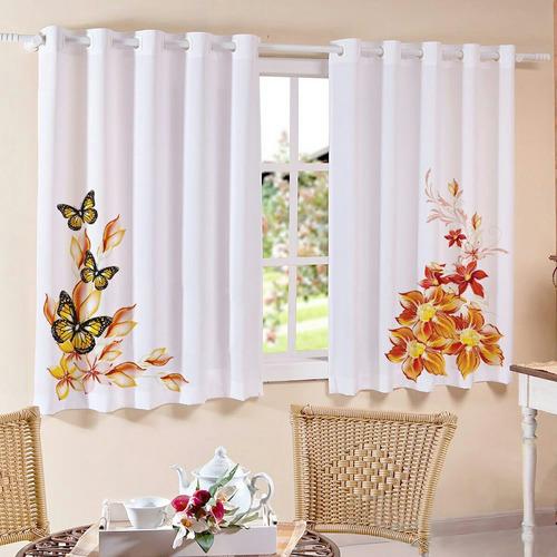 cortina para cozinha flor laranja 2,50m x 1,30m