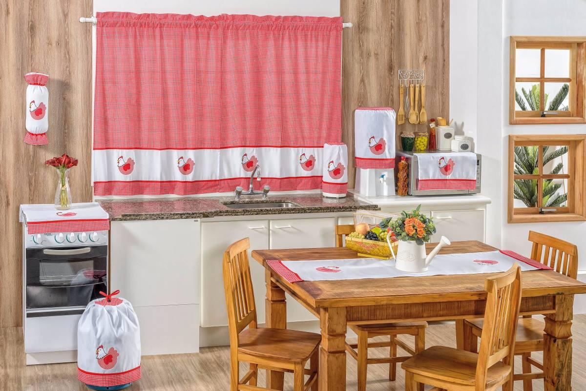 Cortina Para Cozinha Vermelho Xadrez Galinha 08 Pe As R 126 70 Em
