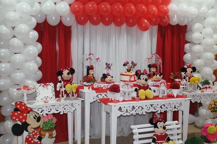 Cortina Para Decoraç u00e3o De Festas Minnie Vermelha R$ 98,00 em Mercado Livre -> Decoraçao De Festa Da Minnie Vermelha Simples