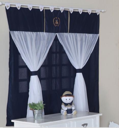 cortina para menino quarto de bebê urso azul marinho