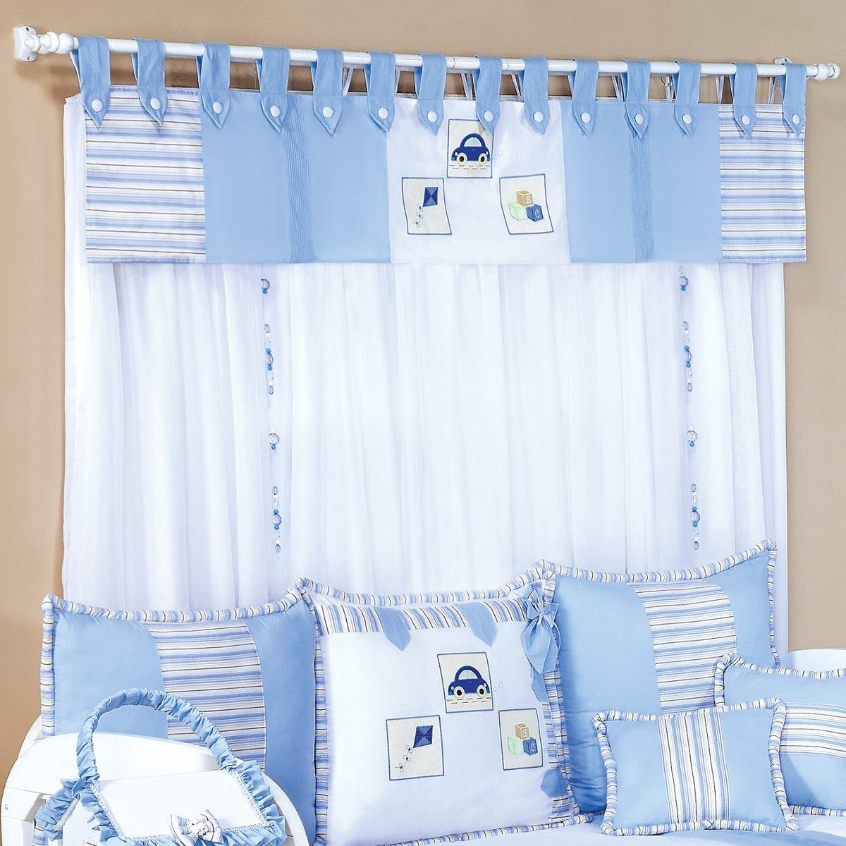Cortina para quarto de beb menino conforto divers o 7 p - Modelos de cortinas infantiles ...