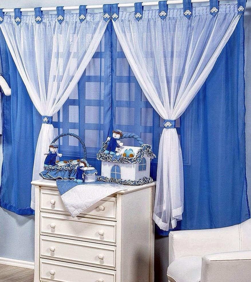 Cortina Para Quarto De Menino Tecido Voil Azul 2 00m R 119 99  ~ Cortinas De Voil Para Quarto E Quarto Masculino Simples