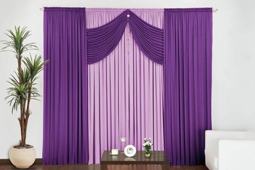 cortina para quarto e sala 4 metros c/ pingente azul
